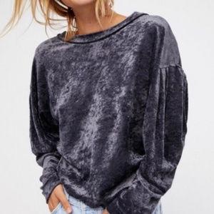 """FREE PEOPLE """"Grey Crushed Velvet Milan Sweater""""NWT"""